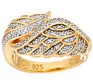 As Is Angel Wing Diamond Ring, 14K Clad, 1/7cttw by Affinity - J321159