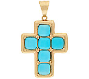 14K Gold Sleeping Beauty Turquoise Cross Pendant - J322159