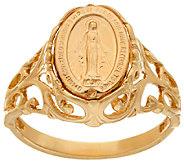 14K Gold Polished Miraculous Medal Ring - J322359