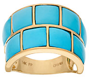Sleeping Beauty Turquoise Carved Wide Band Ring 14K Gold - J324359