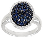 Ruby, Emerald or Sapphire Sterling Silver Oval Pave Ring 0.75 cttw - J328859