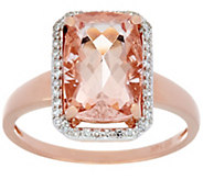 Elongated Cushion Cut Morganite & Diamond Ring 14K Gold - J330159