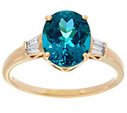 Oval Teal Blue Apatite & Baguette Diamond Ring 14K, 2.45 ct - J330259