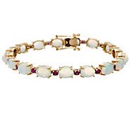 Ethiopian Opal & Precious Gemstone 7-1/4 Tennis Bracelet 14K, 12.00 cttw - J330859