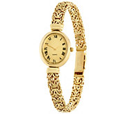 14K Gold Large Polished Mirror Byzantine Watch, 17.6g - J331559