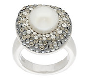 As Is Honora Cultured Pearl 10.0mm & Crystal Sterling Ring - J334059