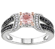 Morganite & Black Diamond Split Shank Ring, Sterling - J336759
