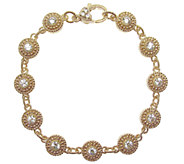 Judith Ripka 6-3/4 Sterling &14K Clad Diamonique Bracelet - J338559