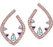 Sterling & Bronze Plated 1.30ttw Blue GemstoneEarrings - J339159