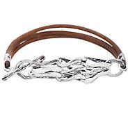Hagit Sterling Links and Leather Bracelet - J339259