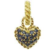 Judith Ripka Sterling 14K Clad Blue Sapphire Heart Charm - J339759