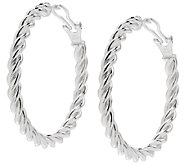 UltraFine Silver 1-3/4 Twisted Omega Back HoopEarrings - J339959