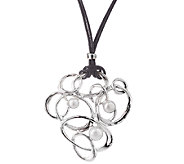 Hagit Sterling Leather & Cultured Pearl PendantNecklace - J340559