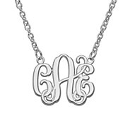 Laser & Etched Polished Monogram with 18 Chain, 14K - J340659