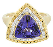 3.75 ct Trillion Cut Tanzanite and Diamond Ring14K Gold - J341759
