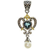 Barbara Bixby Sterling & 18K Blue Topaz & PearlEnhancer - J343059