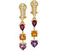 Judith Ripka Sterling Silver & 14K Clad Multi Gemstone Drop Earrings - J348059