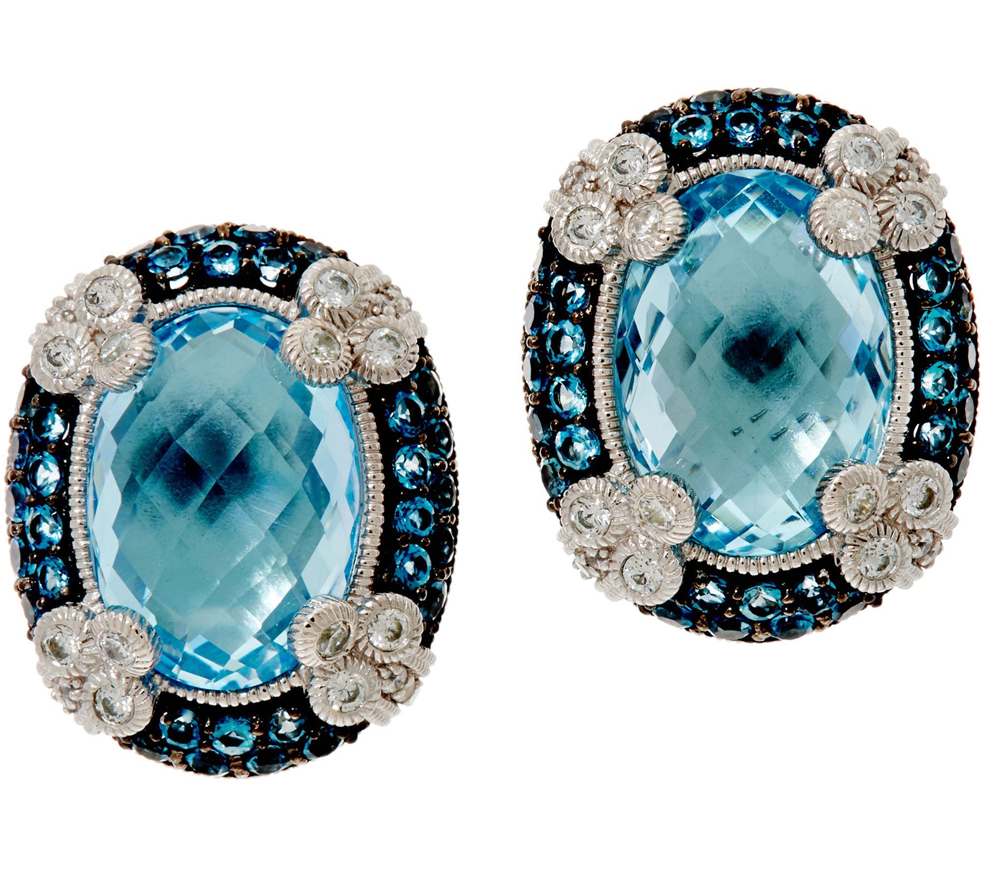Judith Ripka Sterling Silver 1500 Cttw Blue Topaz Monaco Earrings  Page 1  — Qvc