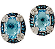 Judith Ripka Sterling Silver 15.00 cttw Blue Topaz Monaco Earrings - J348259
