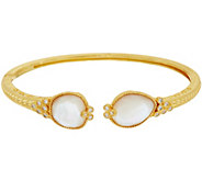 Judith Ripka 14K Clad Mother of Pearl & Diamonique Cuff Bracelet - J348459