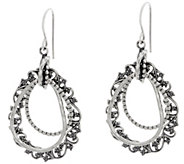 Or Paz Sterling Silver Multi-textured Pear Shaped Dangle Earrings - J349059