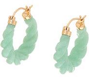 Carved Burmese Jade Hoop Earrings 14K Gold - J349959