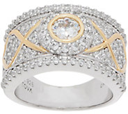 TOVA for Diamonique Two-Tone Band Ring, Sterling - J351259