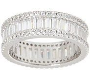 Diamonique 1.40 cttw Round and Baguette Eternity Band, Sterling - J355059