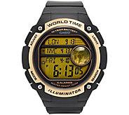 Casio Mens Black & Gold World Time Watch - J376459