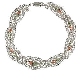 """Black Hills 8-1/2"""" Filigree Link Bracelet, Ster ling/12K Gold"""