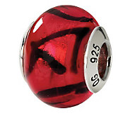 Prerogatives Sterling Red with Black Italian Murano Glass Bead - J111560