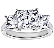 Diamonique 3.50 cttw 3 Stone Princess Cut Ring, Platinum Clad - J111660