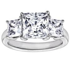 Epiphany Diamonique 3.50 ct tw 3-Stone PrincessCut Ring