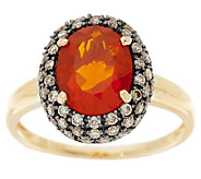 Premier 1.40cts Red Fire Opal & Champagne Diamond Ring 14K Gold - J155660