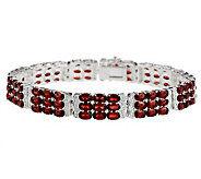 18.50 ct tw Mozambique Garnet 3-Row Sterling 7-1/4 Bracelet - J268860
