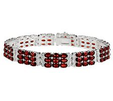 "18.50 ct tw Mozambique Garnet 3-Row Sterling 7-1/4"" Bracelet"