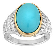 Sleeping Beauty Turquoise Sterling/14K Polished & Textured Ring - J293360