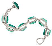 Judith Ripka Sterling & Green Chalcedony Link Bracelet 7-1/4 - J297060