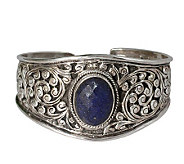 Novica Artisan Crafted Sterling Lapis LeavesCuff - J307560