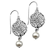 Or Paz Sterling Textured Disc Cultured Pearl Dangle Earrings - J311560