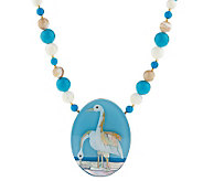Lee Sands 18 Gemstone Crane Inlay Necklace - J313860