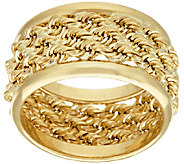 14K Gold Bold Triple Wrapped Rope Band Ring - J319560