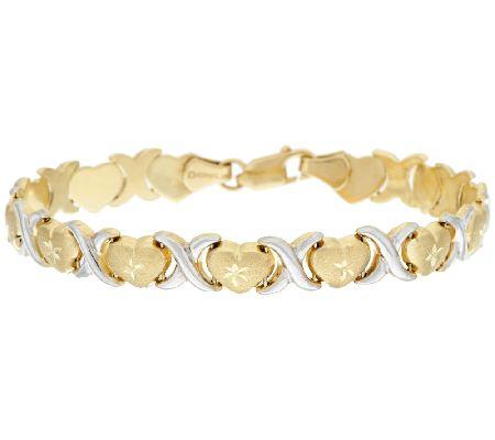 14k Gold 8 Quot Hugs Amp Kisses Two Tone Stampato Bracelet 7 4g Qvc Com