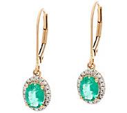 Oval Zambian Emerald & Diamond Drop Earrings, 14K 1.00 cttw - J328260