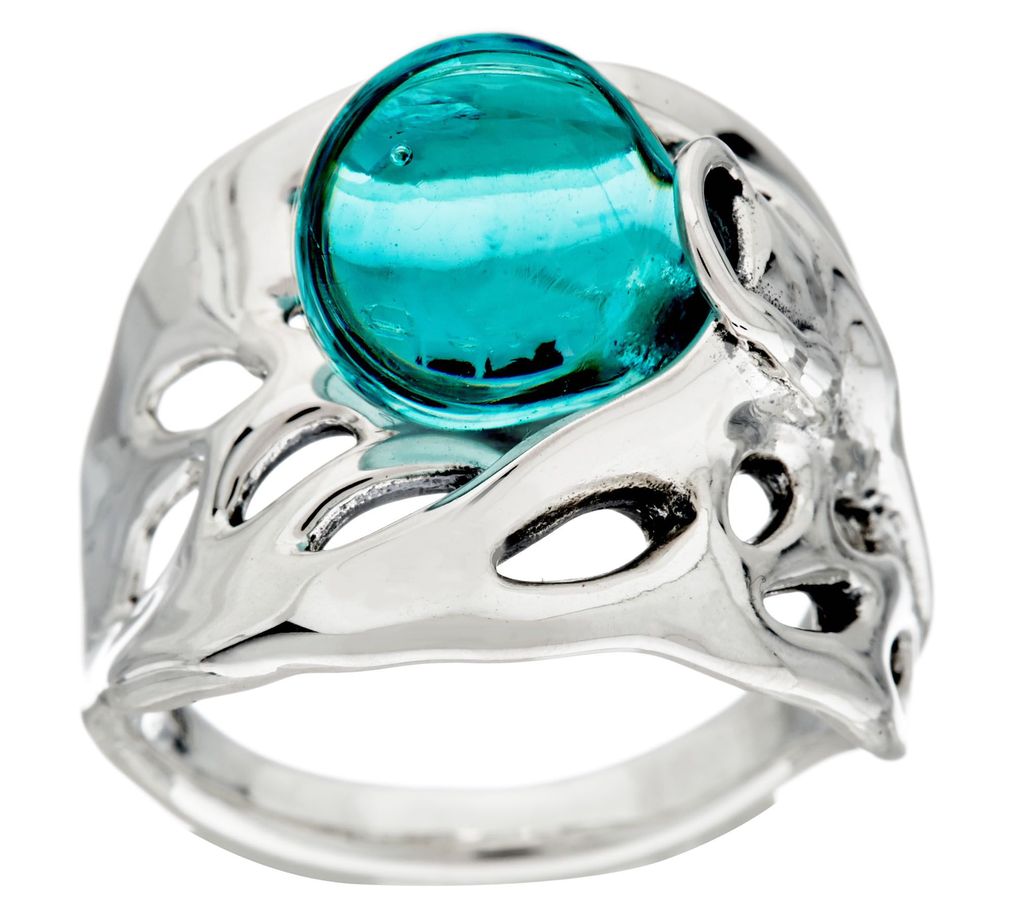 Kalos by Hagit Sterling Silver Blue Glass Ring