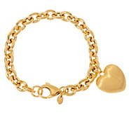 As IsVeronese 18K Clad Heart Dangle Rolo Charm Bracelet - J329060