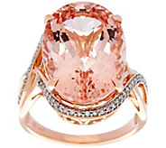 Oval Morganite and Diamond Bold Ring, 14K Gold 10.00 ct - J330160