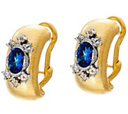 Genesi 18K Clad Blue Topaz Omega Back Earrings - J330560