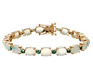 Ethiopian Opal & Precious Gemstone 8 Tennis Bracelet 14K, 13.00 cttw - J330860