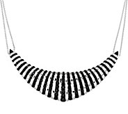 As Is 18.00 cttw Black Spinel Sterling Frontal Design Necklace - J331360